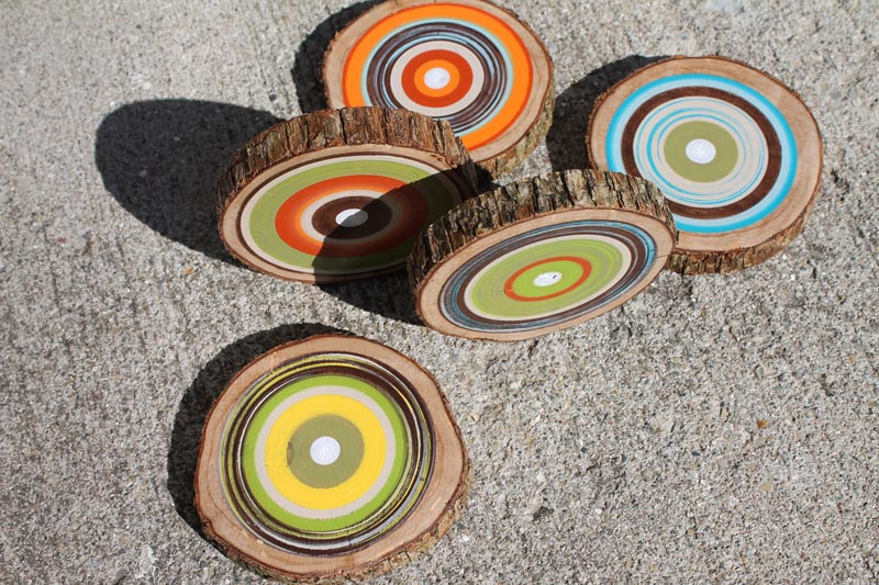 Colorful Wooden Coaster Set Gadgetsin