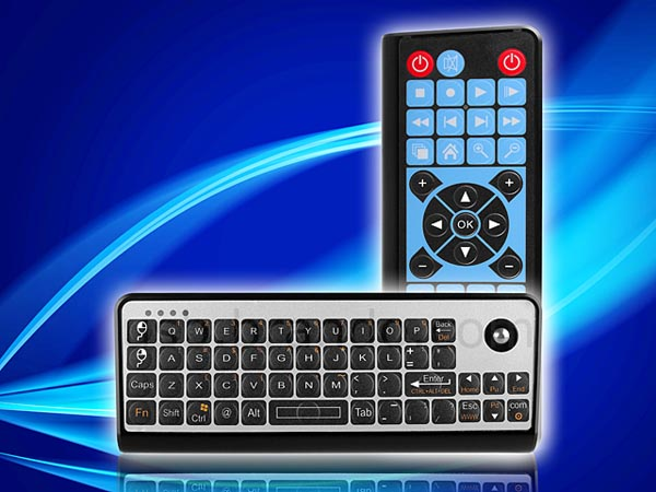 Wireless Keyboard with IR Remote and Trackball