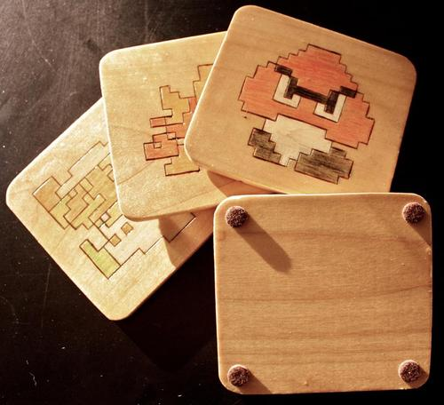 Super Mario Wooden Coaster Set