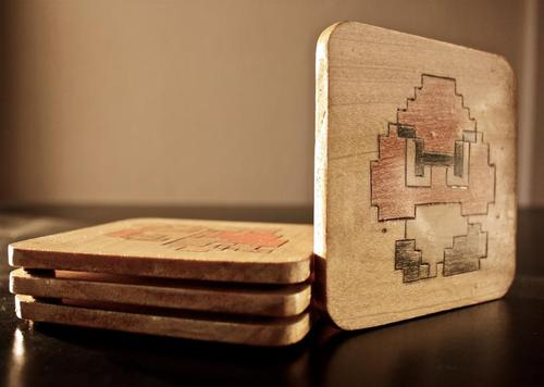 Super Mario Wooden Coaster Set