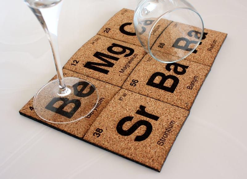 handmade periodic table coaster set gadgetsin - Cool Coasters