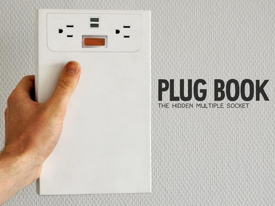 Plugbook Book Shaped Power Strip with Cable Organizer
