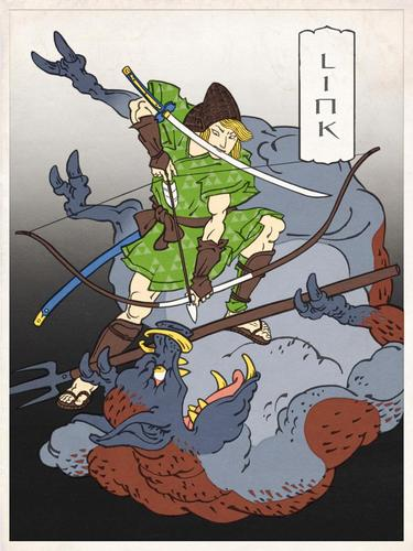 Nintendo Game Characters in Ukiyo-e Style