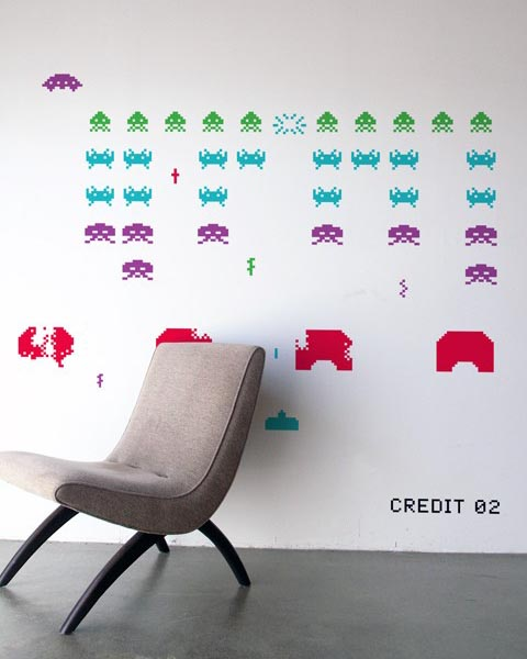 Blik Space Invaders Re Stik Wall Decal