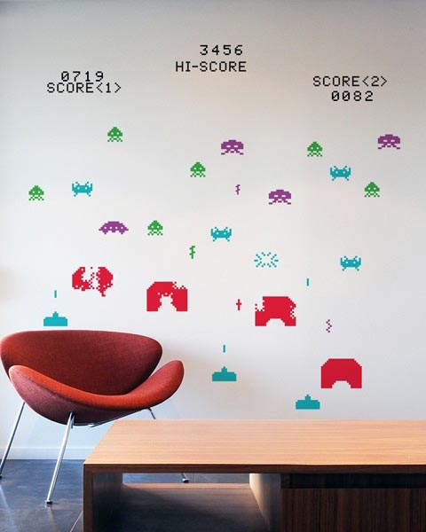 Blik space invaders re stik wall decal gadgetsin - Space invader wall stickers ...