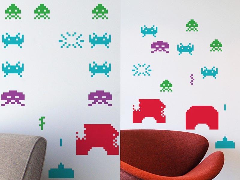 Blik space invaders re stik wall decal gadgetsin - Blik wall stickers ...