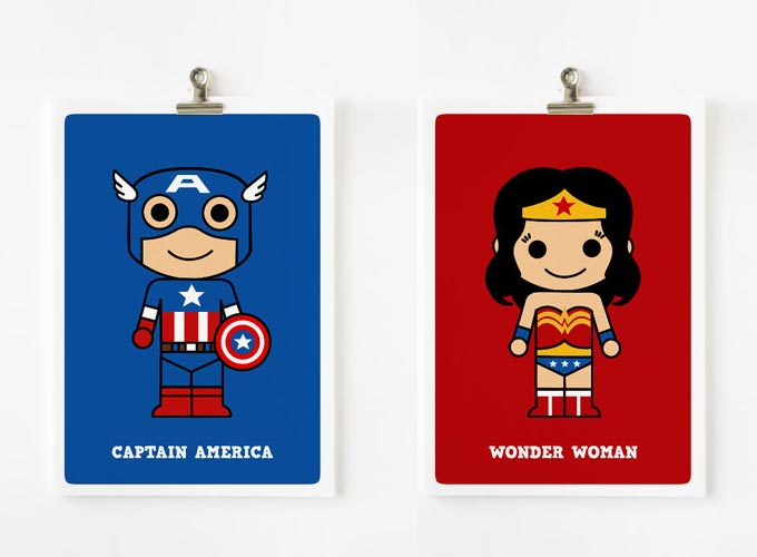 Cute Cartoonish Superhero Art Prints