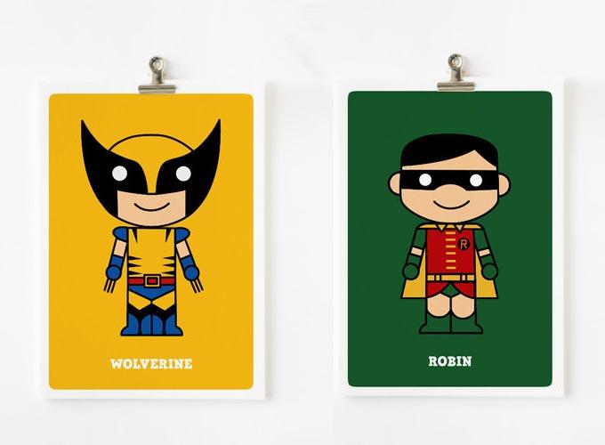 Cute Cartoonish Superhero Art Prints
