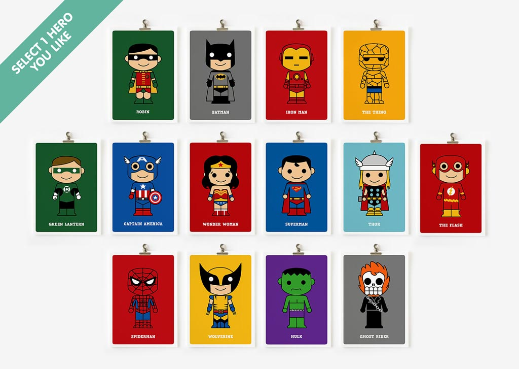 Cute Cartoonish Superhero Art Prints  Gadgetsin