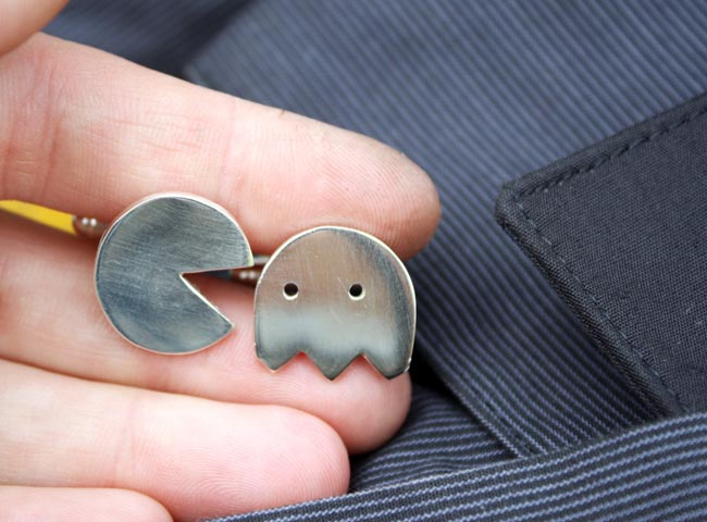 Handmade Pacman Sterling Silver Cufflinks