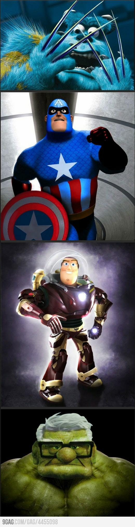 Pixar vs. Marvel Illustrations