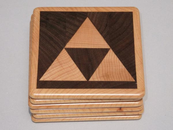 The Legend of Zelda Triforce Wooden Coaster Set