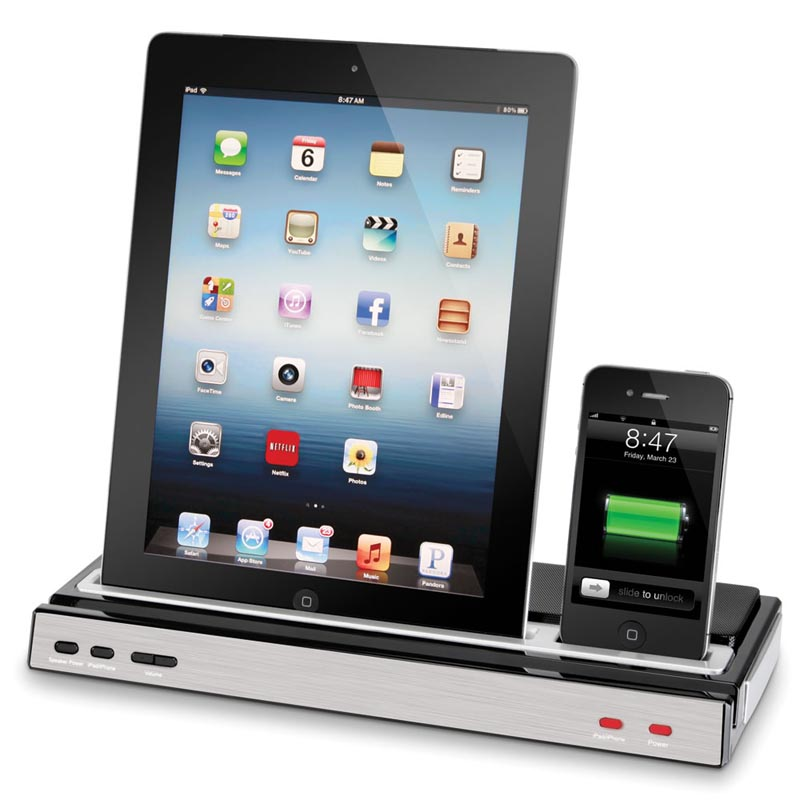 the docking station with stereo speakers for iphone and. Black Bedroom Furniture Sets. Home Design Ideas