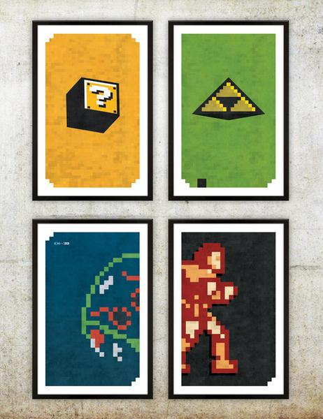 Retro NES Video Game Inspired Poster Set