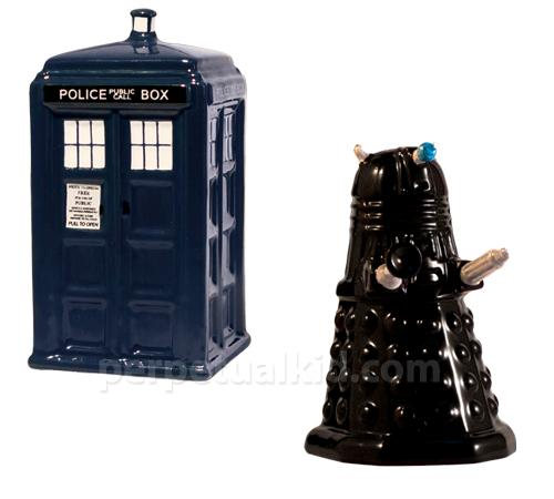 Doctor Who TARDIS and Dalek Salt & Pepper Shakers