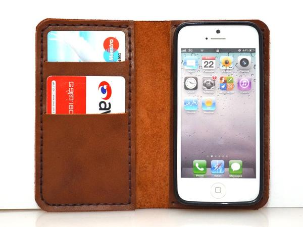 Handmade Wallet Styled Leather iPhone 5 Case