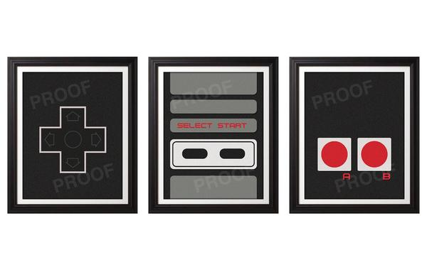 NES Controller Art Print Set