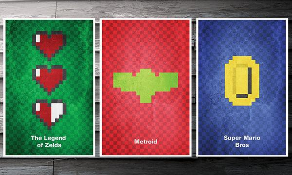 The Minimalist 8-Bit Video Game Poster Set