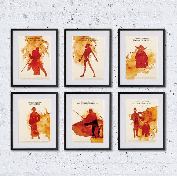 Watercolor Styled Star Wars Trilogy Poster Set