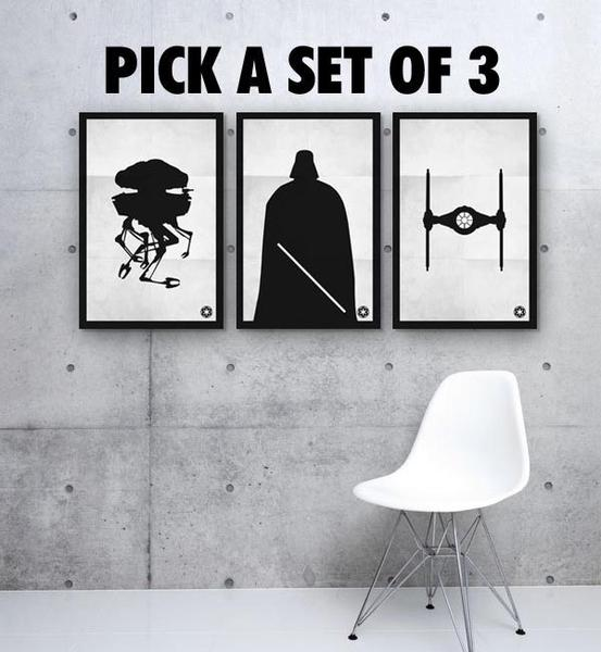 Black white star wars poster set