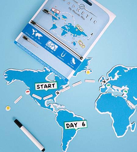 Magnetic World Map Fridge Magnet Set