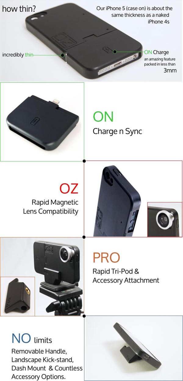 ZOpro iPhone 5 Case with Charging Cable and Tripod Mount