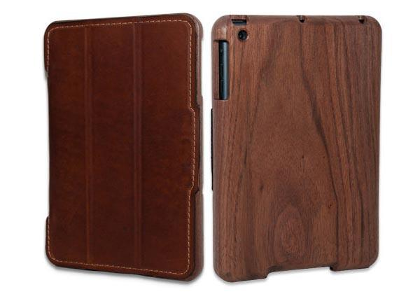 The Handmade Wooden iPad Mini Case with Leather Cover