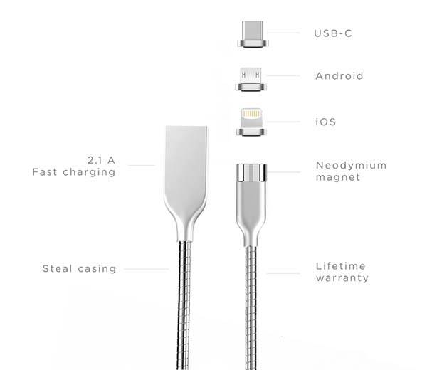 Anchor Stainless Steel Magnetic Charging Cable