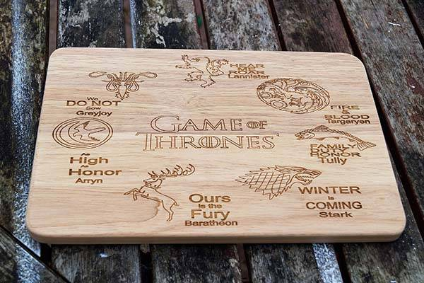 Handmade Game of Thrones Wooden Cutting Board