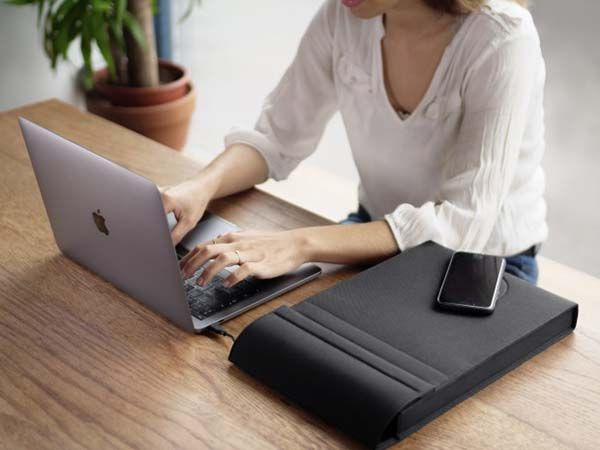LAER Padded Laptop Sleeve with Swappable Power Bank and Wireless Charging