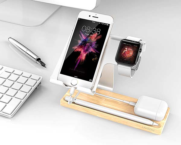 The Aluminum and Wooden Docking Station for Apple Watch, AirPods, iPhone and Pencil