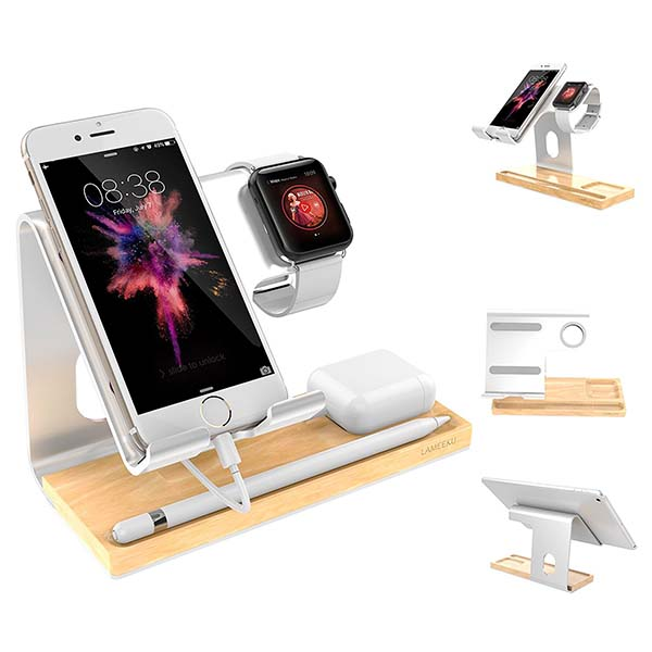 the aluminum and wooden docking station supports apple watch airpods iphone and apple pencil. Black Bedroom Furniture Sets. Home Design Ideas