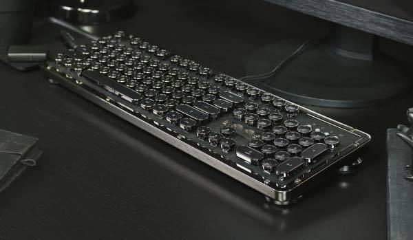 Azio Retro Classic Typewriter Inspired Backlit Mechanical Keyboard