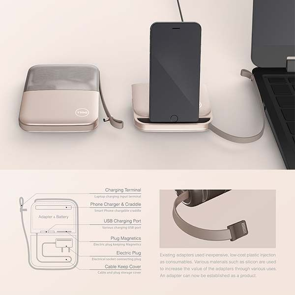 Cubby Laptop Adapter with Integrated Power Bank and Charging Dock