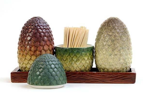 Game of Thrones Dragon Egg Salt Pepper Shakers, Toothpick Holder