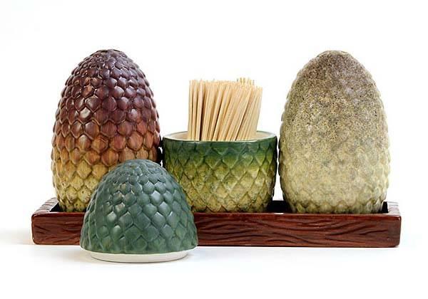 Game of Thrones Dragon Egg Salt Pepper Shakers, Toothpick Holder