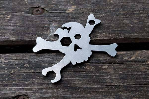 Cracked Skull Handmade Keychain Multitool