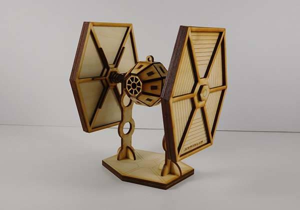Handmade Star Wars Laser Cut Models - TIE Fighter