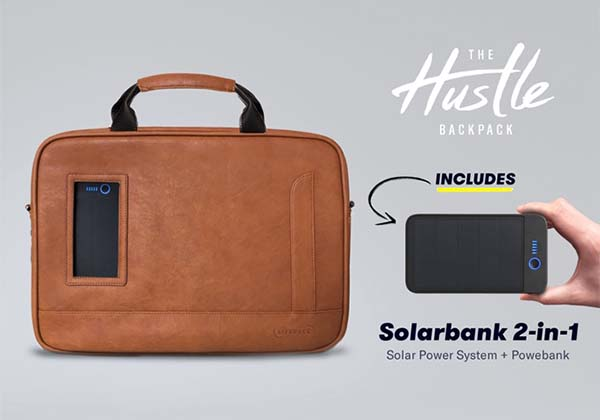 Lifepack Hustle Leather Shoulder Bag with Removable Solar Power Bank