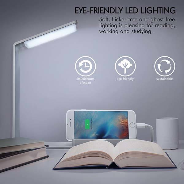 Aluminum LED Desk Lamp with Integrated Charging Station