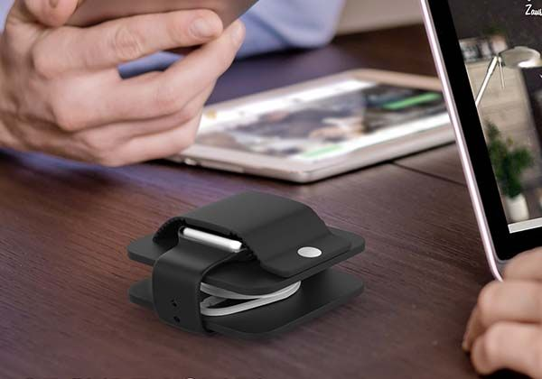 Portable Apple Watch Charging Dock with Cable Organizer