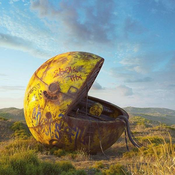 Post Apocalyptic 3D Pop Culture Sculptures Created by Flip Hodas - Pac-Man