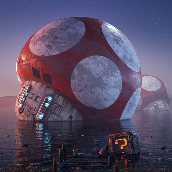 Post Apocalyptic 3D Pop Culture Sculptures Created by Flip Hodas - Super Mario Bros