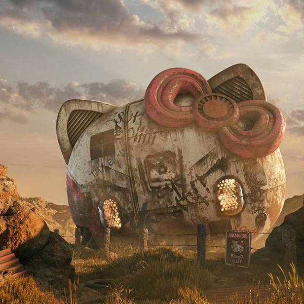 Post Apocalyptic 3D Pop Culture Sculptures Created by Flip Hodas - Hello Kitty