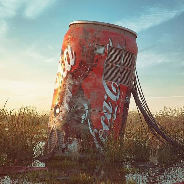 Post Apocalyptic 3D Pop Culture Sculptures Created by Flip Hodas - Coca Cola