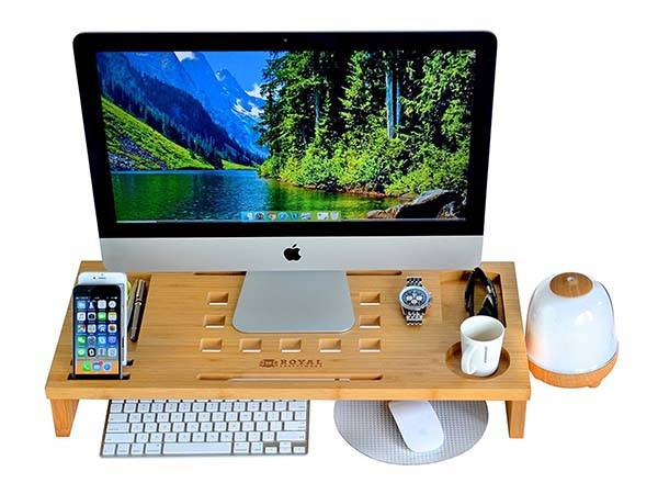 Wooden Standing Desk with Removable Monitor Stand and Desk Organizer