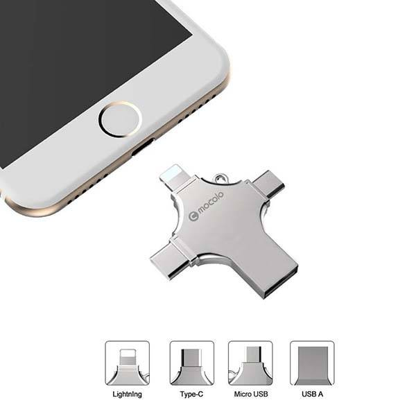 4-In-1 USB Flash Drive with Lightning, USB-C and microUSB