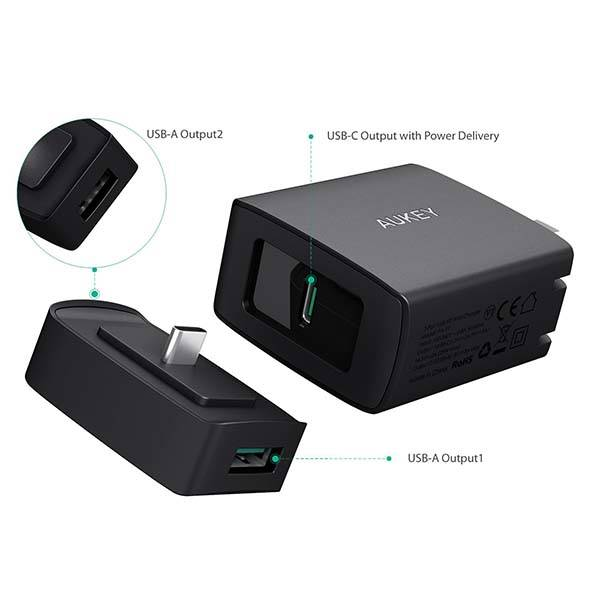 Aukey Amp Duo USB-C Wall Charger with Two USB Ports