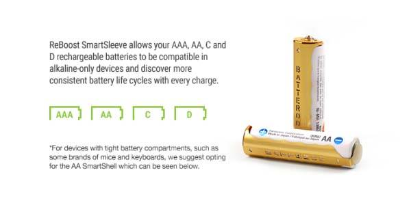 Batteroo ReBoost SmartSleeve Rechargeable Battery Sleeves