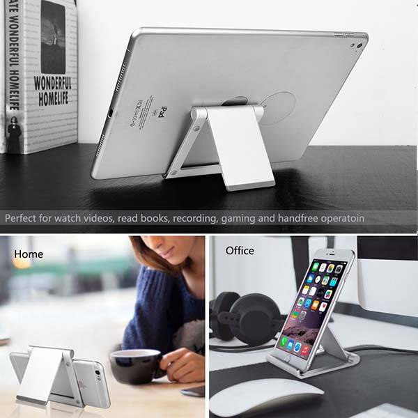 The Foldable Aluminum Mobile Stand for Smartphones and Tablets